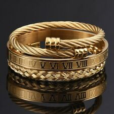 3Pcs Luxury Gold Roman Bracelets Set Stainless Steel Fashion Mens Jewelry Gift