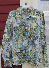 """i.e. Relaxed Blue Print Long Sleeved Button Down Cotton Shirt Large (47"""") EUC"""