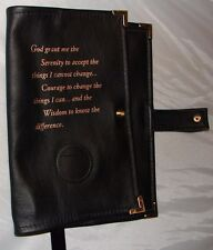 Genuine Leather AA Big Book NEW BLACK Cover Alcoholics Anonymous Coin holder