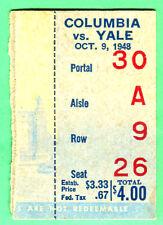 VINTAGE! 10/9/48 YALE VS. COLUMBIA FOOTBALL TICKET STUB