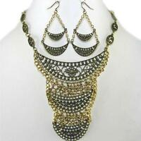 Statement Bib Antique Gold Necklace Earrings Vintage Style Filigree Jewelry Set