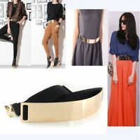 Gold Plate Elastic Mirror Bling Metal Waist Belt Obi Wide Band Metallic