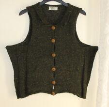 SUE P Boutique Artsy O/S S M L XL Lagenlook Green Tweed Vest Waistcoat Sweater