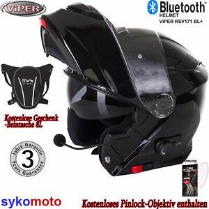 Viper Rs-V171 Klapphelm Motorradhelm  Mit Bluetooth Sonnenblende Schwarz Geschen