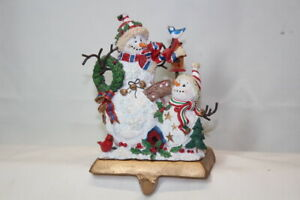 Holiday Lane Stocking Holder White Snowmen (got snow) Hanger Christmas
