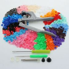 Button Fastener Snap Pliers w/ 300/Set T5 Plastic Resin Press Cloth Diaper Bags