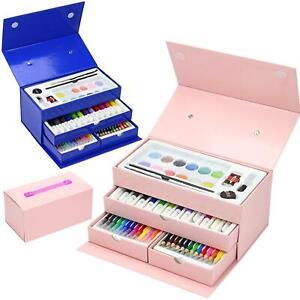 54pc Childrens/Kids Art Case Colour Paints Pencil Crayons Felt Tip Pens Set