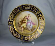 "Vintage Royal Vienna Style Austria Plate Hand Painted 9-3/8"" Signed Kaufmann"