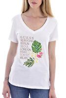 Guess Tee-shirt Blanc À Broderie Col V W92i58k8fv0