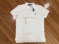 NWT US Polo Assn Men's White Polo Shirt Blue Pony Size L  MSRP $42