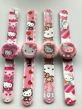1x Girl Kid Children Pink Hello Kitty Wrist Snap on Slap band LED Watch Gift her