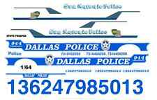 Dallas & San Antonio Police 1/64th Scale WATERSLIDE DECALS