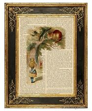 Alice in Wonderland Art Print on Antique Book Page Cheshire Cat on Tree Color