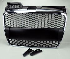 Chrome & Matte Black Mesh Front Hood Bumper Grill Fits Audi A4 06-08 B7
