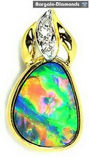 best floral harlequin black opal diamond 18K gold pendant Australian opala