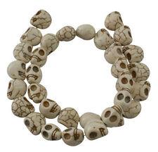 "34 White Skull Beads Howlite 12mm Manmade Turquoise 16"" Strand Gothic Halloween"