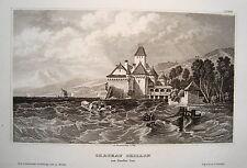 Schloß Chillon Genfer See Schweiz  seltener echter  alter  Stahlstich  1838 Nr2