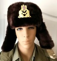 Romania Ushanka Officer Military Winter Cap Badge Hats Camouflage Natural Fur