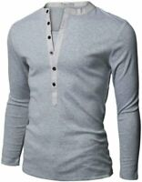 Men's Slim Fit Long Sleeve, Round Neck with Buttons TShirts