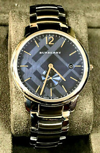 Burberry BU10007 The Classic Blue Dial Date Stainless Steel Men's Watch WARRANTY