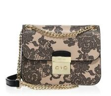 NWT Michael Kors $428 Sloan Medium Chain Editor Lace Leather Shoulder Bag,Oyster