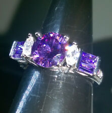 AMETHYST SAPPHIRES CREATED SILVER FILLED RING SIZE Q
