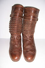 VINTAGE HANDMADE BROWN LEATHER GAUCHO WESTERN BOOTS MENS SIZE 11