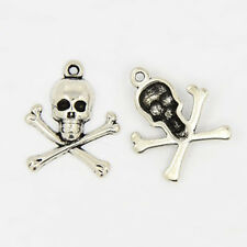 4 Skull and Crossbones Charms Antiqued Silver Pirate Pendants Gothic