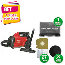 Sanitaire Sc3683B Extend Canister Vacuum, 10 lb, Red w/ Kit