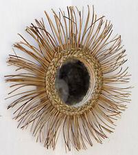 Specchio sole in vegetale naturale rattan diamentro cm 37 vetro cm 12,5