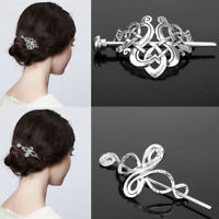 Retro Women Hairpin Celtics Knot Hair Clips Metal Stick Slide Hair Jewelry