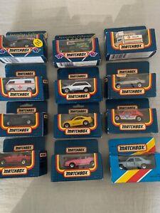 Matchbox 12 Boxed Cars - BMW 535, Peugeot 205, Mercedes 300E, Volvo 480ES etc