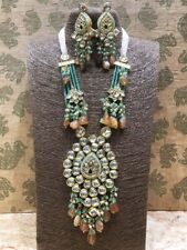 Bollywood Kundan Polki Bridal Long Haram Necklace Jewelry CZ Set Raani Haar