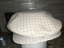 STETSON MENS VINTAGE PAGEBOY HAT CREME BROWN PLAID MEDIUM