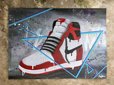Peinture signé - nike air jordan -  sneakers graffiti street art tableau tag