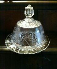 Vintage Gorgeous Cut Glass Dome Lid Round  Glass Cheese/Butter Dish