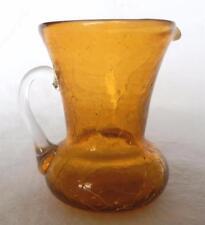 VINTAGE MID-CENTURY AMBER BLENKO CRACKLE GLASS CREAMER - EXCELLENT CONDITION