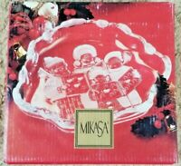 """Mikasa Holiday Theme """"Carolers"""" Candy or Sweet Dish 8.25"""" Decorated & Etched"""