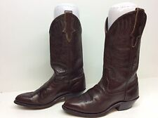 YOUNG WOMENS UNBRANDED COWBOY LEATHER BURGUNDY BOOTS SIZE 5 M