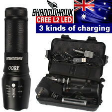 AU Genuine Shadowhawk 8000Lm CREE L2 18650 Rechargeable Battery Flashlight Torch