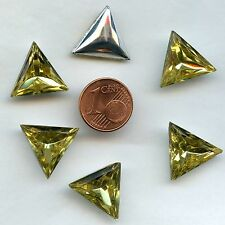 122 *** 6 CABOCHONS ANCIENS CRYSTAL FOND CONIQUE TRIANGLE 15,5mm  JAUNE