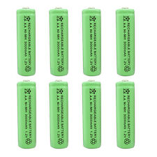 8pcs AA 2A 3000 (Actual 300mAh) 1.2V Ni-MH NiMH Rechargeable Battery Cell Green