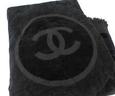 Chanel Large Beach Bath Towel Black Floor Mat Coco mark Cotton Sport Line Rare