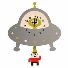 Alien Abduction Wall Clock Flying Saucer Outer Space UFO  Wooden Wall Clock