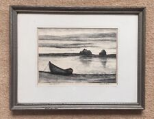ROBERT CRAIG Original Etching BAR ISLAND Listed Connecticut Artist Circa 1950