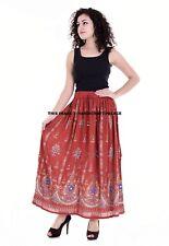 "INDIAN LEAF DESIGN SEQUIN BELLY DANCE BOLLYWOOD SKIRT TRIBAL RED LONG SKIRT 35"""