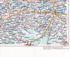 Piacenza Bobbio Casteggio 1933 picc. carta stradale orig. Codogno Pianello Travo