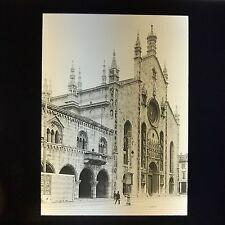 Antique Magic Lantern Glass Slide Photo Como Cathedral Facade Italy Church