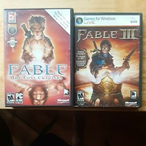 Fable 1 The Lost Chapters and Fable 3 Pc Games Complete Lot of 2