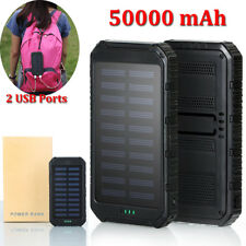 50000mah Dual-USB Solar Power Bank Battery Charger for Cell Phone iPhone Samsung